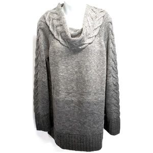 THE LIMITED Ombre Gray Cowl Neck Tunic Sweater Lg